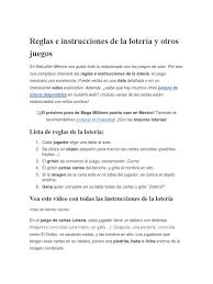 Instrucciones de un juego tradicional mexicano. Reglas E Instrucciones De La Loteria Y Otros Juegos Juegos Y Loteria Ocio