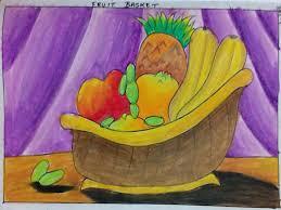 fruit basket oil pastel meghna unni