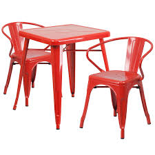 23 75 square red metal indoor outdoor table set with 2 arm chairs