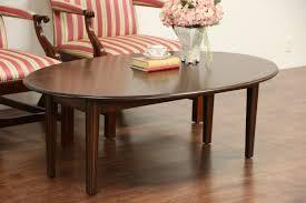 kittinger signed oval dropleaf mahogany vintage coffee table