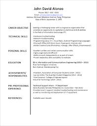 Information Technology Resume Resume Sample Information Technology Student Fresh Sample Resume 47