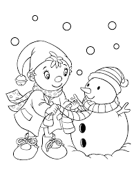 Kleurplaten Paradijs Kleurplaat Noddy Maakt Graag Een Sneeuwpop In