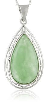 18k yellow gold plated sterling silver green jade diamond accents pendant necklace 18
