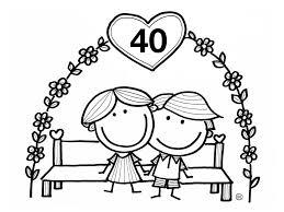 Kleurplaat 40 Jaar Huwelijk Gefeliciteerd