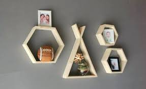 set of 4 handcrafted wooden shelves shelf hexagon modular wall home decor nursery storage mid