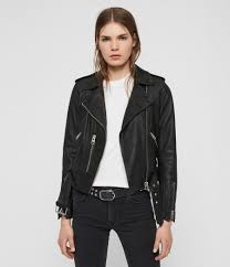 womens balfern leather biker jacket black image 5