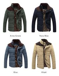 mens outdoor stand collar cotton padded winter coat