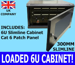 Slimline Wall Cabinet Black Wall Cabinet Cat6 Patch Panel 300mm Network Data Lan Rack