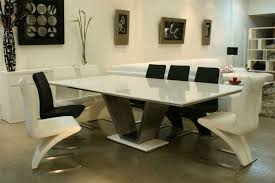 furniture trendy ultra modern white marble top dining table design ideas with v shape legs also minimalist black and white chrome legs dining chairs plus