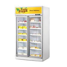 double upright glass door fridge