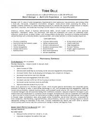 Retail Assistant Manager Resume Resumes Convenience Store Sample