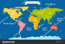 world map vector illustration inscription oceans stock inside