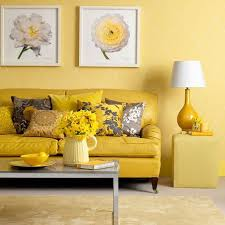 daring sunny yellow living room with a couple of calming grey touches