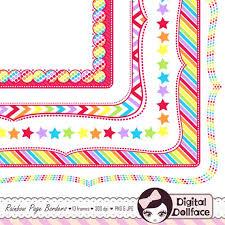 Rainbow Page Border Rainbow Frame Clip Art Border Paper Digital Page Borders Etsy
