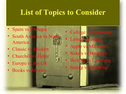 compare and contrast essay topics 5 list of topics