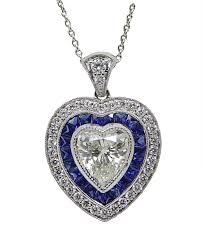 18k white gold heart shaped diamond and sapphire pendant necklace image 1