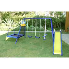 metal swing set with slide trampoline playground backyard outdoor fitness kids