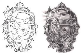 Freebies Film Noir Rhino Tattoo Design by TattooSavage on DeviantArt