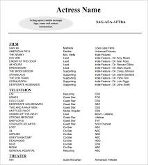 Sample Acting Resume Template Talent All Best Cv Resume Ideas