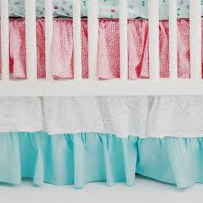 pink and aqua ruffle crib skirt le paris baby bedding collection