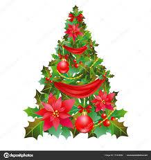 Weihnachtsbaum Mit Weihnachtsstern Und Roten Bändern