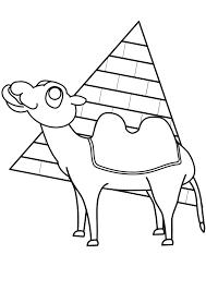 ラクダとピラミッド 塗り絵 無料 動物カテゴリー ぬりえワールド