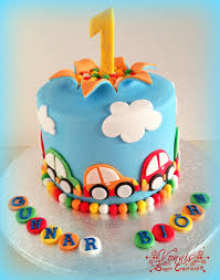 1st Birthday Cake For Boy Cars Cake First Birthday Colorful