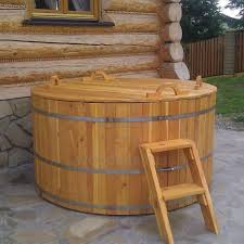 large round pine hot tub