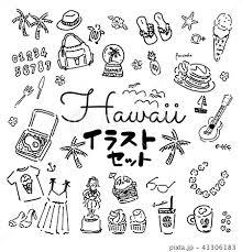 ハワイ 手描き 女性 イラストのイラスト素材 43306183 Pixta
