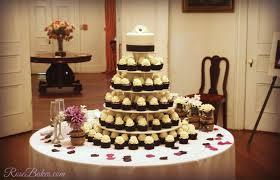 Black White Purple Wedding Cake And Cupcake Tower Rose Bakes