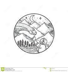 татуировка круга горы астронавта бронтозавра иллюстрация штока