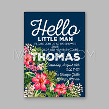 baby shower fl invitation with hibiscus flower and tropical leaves watercolor flower wreath