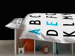 now your kids can catch their abcs alongside their zzzs with design letter s organic kids bedding featuring the bauhaus inspired typography of danish