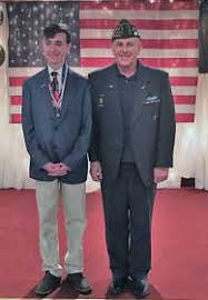 local news voice of democracy essay contest winners recognized  pictured above post commander george winters r is seen the 2017 2018 voice of democracy 2nd place winner jon mark castleman l a freshman student