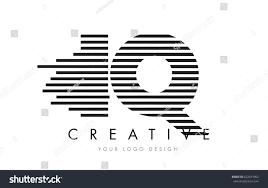 I Q Zebra Letter Logo Design with Black and White Stripes Vector