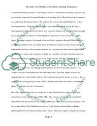 role of the mentor when evaluting student learning essay  text preview