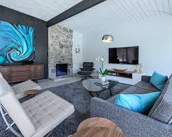 carpet colors for living room. Grey Carpet Color For Modern Living Room Ideas With Blue Abstract Painting And Stone Fireplace Colors O