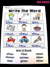 Choose the word that has a particular sound. Miss Giraffe S Class Ew Ue Ui Activities