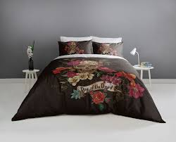 dia de la mort duvet bedding set with pillowcases