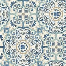blue floine tile l and stick wallpaper