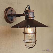 vintage style lighting fixtures. single light antique copper nautical wall sconce with cage vintage style lighting fixtures a