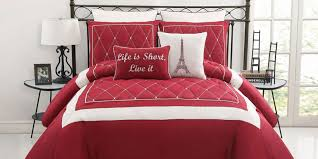 pictures gallery of red and white bedding set