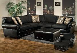 Black sectional couches Black Microfiber Black Sectional Couch Black Sectional Sofa Ottoman Chair Ottoman Set Nail Head Accents Black Leather Loscreadoresclub Black Sectional Couch Loscreadoresclub