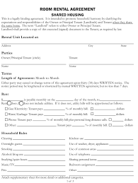 room rental agreements california room rental agreement form shared housing county of