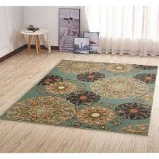 ottohome collection contemporary damask design sage green 5 ft x 7 ft area rug