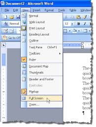 microsoft word menus view word documents in full screen mode