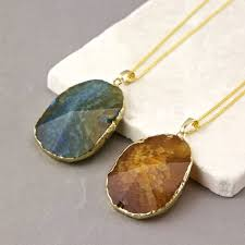 raw agate slice necklace