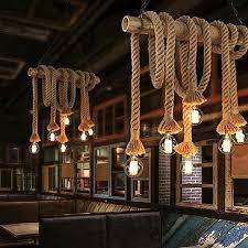 vintage rustic hemp rope ceiling chandelier wiring hanging lights bar home decor