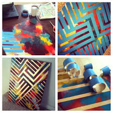 painting tape design painting paint canvas with colors tape design with  painters tape spray paint over