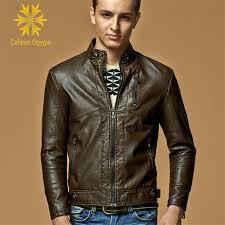 fashion a sederhana hitam lat kopi berdiri pria genuine kulit domba kulit jaket slim fit biker